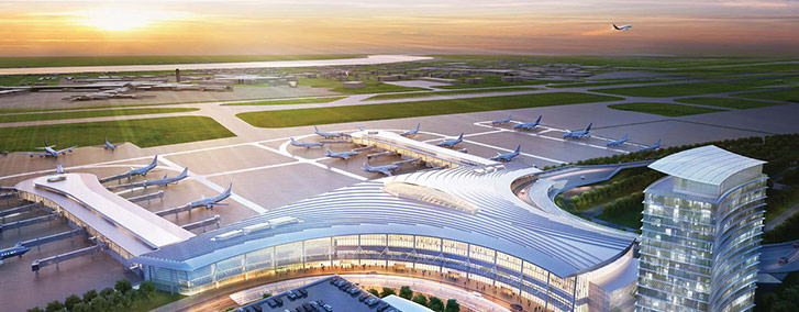 Cconstruction of a new $826 million terminal at Louis Armstrong New Orleans International Airport