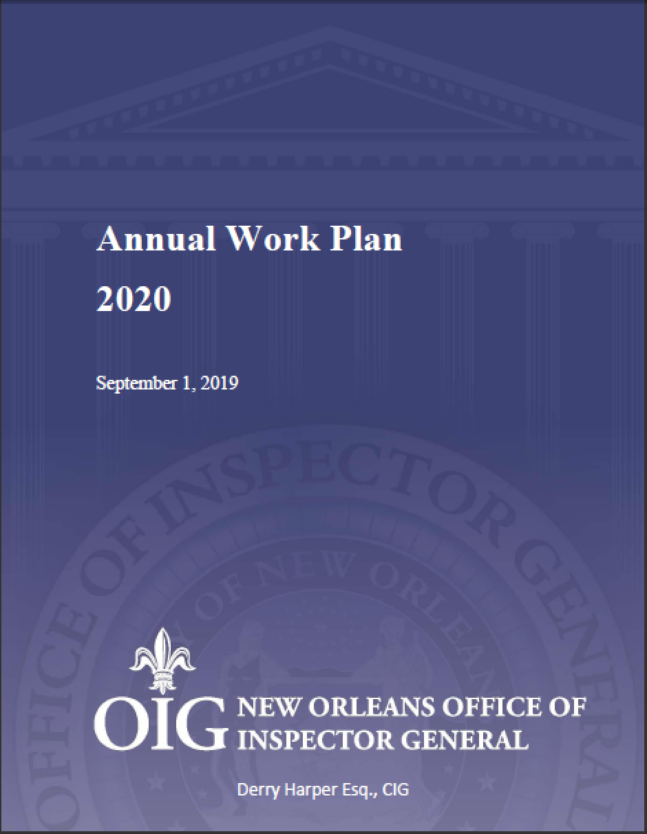 2020 Annual work plan cover